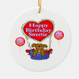 Ornement Rond En Céramique Chiot de bonbon de joyeux anniversaire