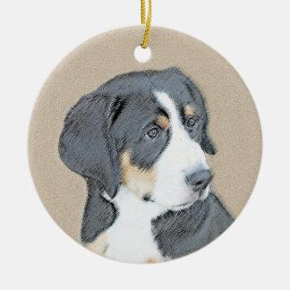Ornement Rond En Céramique Chiot de chien de montagne de Bernese