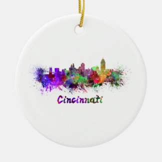 Ornement Rond En Céramique Cincinnati skyline in watercolor
