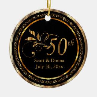 Ornement Rond En Céramique Cinquantième anniversaire de mariage d'or élégant