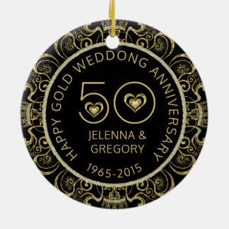 Ornement Rond En Céramique cinquantième Noir d'anniversaire de mariage d'or
