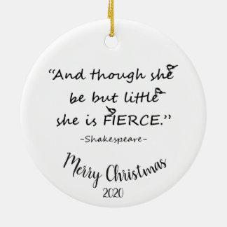 Ornement Rond En Céramique Citation de Noël daté de coutume petite mais