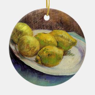 Ornement Rond En Céramique Citrons de Van Gogh d'un plat, de cru toujours art