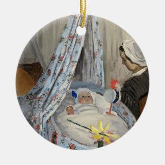 Ornement Rond En Céramique Claude Monet   le berceau, Camille avec le fils