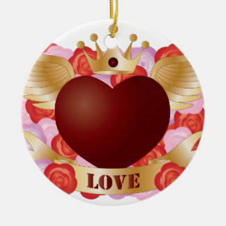 Ornement Rond En Céramique Coeur de vol avec la bannière et les roses