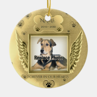 Ornement Rond En Céramique Coeurs commémoratifs d'or d'animal familier fait