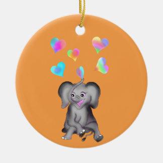 Ornement Rond En Céramique Coeurs d'éléphant par Happy Juul Company