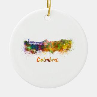 Ornement Rond En Céramique Coïmbre skyline in watercolor