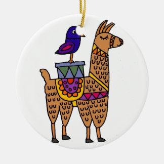 Ornement Rond En Céramique Col Llama avec la couverture et les paquets