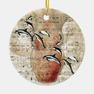 Ornement Rond En Céramique Collage de dauphins de poulpe