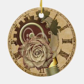 Ornement Rond En Céramique Collage vintage d'horloge