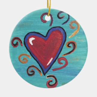Ornement Rond En Céramique Collection rouge de coeurs
