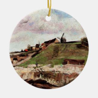 Ornement Rond En Céramique Colline de Van Gogh de Montmartre avec la