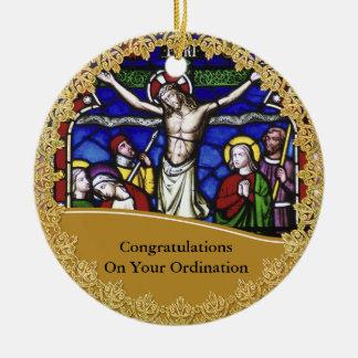 Ornement Rond En Céramique Commemorative Gift d'évêque Ordination Ordained