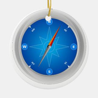 Ornement Rond En Céramique Compass Safari Navigation