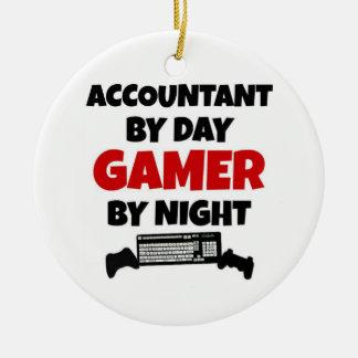 Ornement Rond En Céramique Comptable par le Gamer de jour par nuit