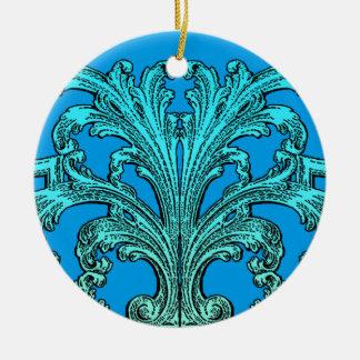 Ornement Rond En Céramique Conception bleue d'Ombre de remous vintage unique