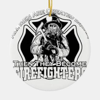 Ornement Rond En Céramique Conception de sapeurs-pompiers