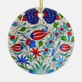 Ornement Rond En Céramique Conception florale turque