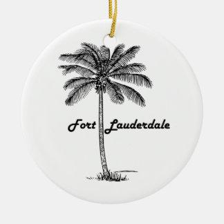 Ornement Rond En Céramique Conception noire et blanche de Fort Lauderdale et