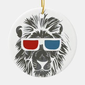 Ornement Rond En Céramique conception vintage de lion avec des gaz de couleur
