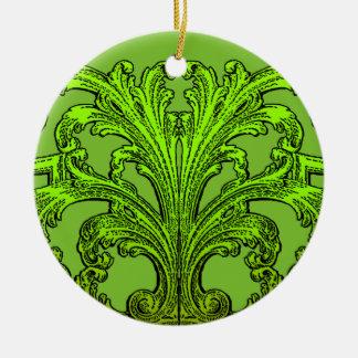 Ornement Rond En Céramique Conception vintage unique de vert d'Ombre de