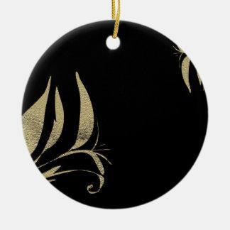 Ornement Rond En Céramique Conceptions de motif de Flourish de noir et d'or