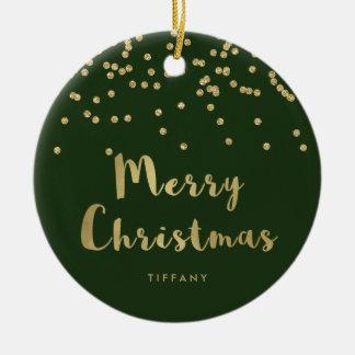 Ornement Rond En Céramique Confettis d'or de Faux du Joyeux Noël | sur le