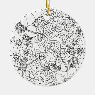 Ornement Rond En Céramique Conglomération des fleurs