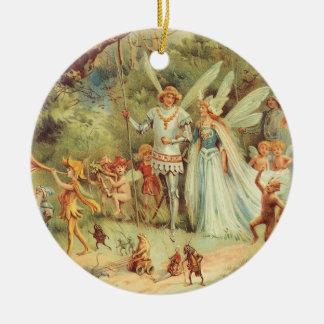 Ornement Rond En Céramique Contes de fées vintages, Thumbelina et prince