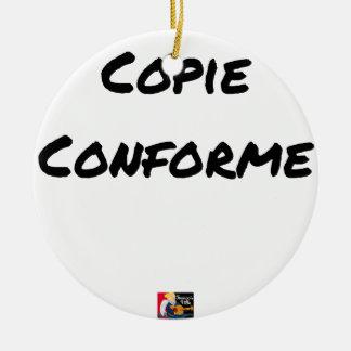Ornement Rond En Céramique COPIE CONFORME - Jeux de mots - Francois Ville