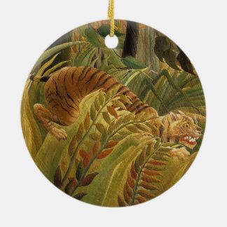 Ornement Rond En Céramique Copie tropicale d'art de tigre de jungle de