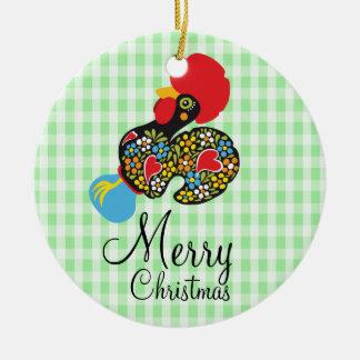 Ornement Rond En Céramique Coq célèbre de Joyeux Noël de Barcelos Nr 06