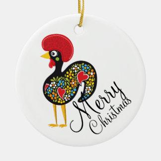 Ornement Rond En Céramique Coq célèbre de Joyeux Noël de Barcelos Nr 07