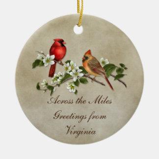 Ornement Rond En Céramique Cornouillers de cardinaux à travers Noël de milles