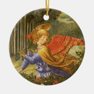 Ornement Rond En Céramique Cortège des Magi, art d'ange de la Renaissance
