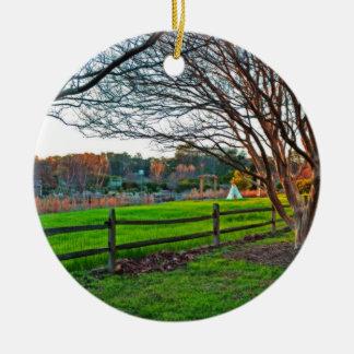 Ornement Rond En Céramique Coucher du soleil d'automne par Shirley Taylor