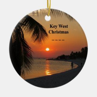 Ornement Rond En Céramique Coucher du soleil de Key West