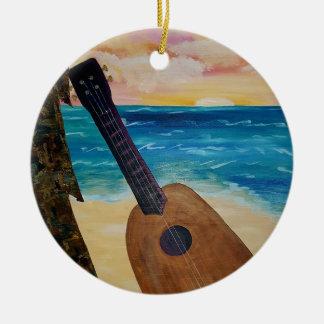 Ornement Rond En Céramique coucher du soleil d'Hawaï