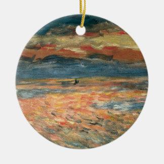 Ornement Rond En Céramique Coucher du soleil en mer par Pierre Renoir,