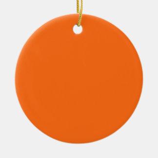 Ornement Rond En Céramique Couleur solide jaune fraîche seulement d'orange et