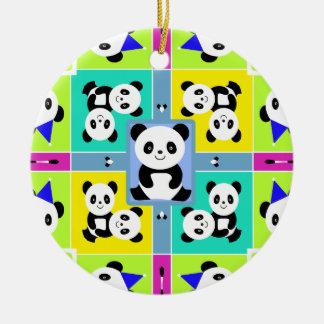 Ornement Rond En Céramique Couleurs lumineuses d'ours panda adorables