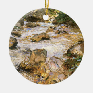 Ornement Rond En Céramique Courant de truite au Tyrol par John Singer Sargent