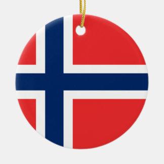 Ornement Rond En Céramique Coût bas ! Drapeau de la Norvège