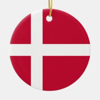 Ornement Rond En Céramique Coût bas ! Drapeau du Danemark