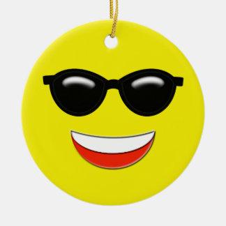 Ornement Rond En Céramique Coutume froide d'Emoji
