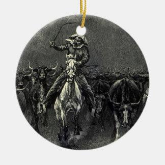 Ornement Rond En Céramique Cowboys vintages, une ruée par Frederic Remington