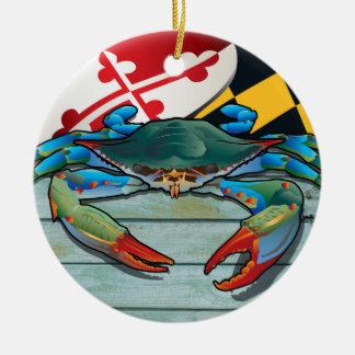 Ornement Rond En Céramique Crabe bleu côtier du Maryland avec le drapeau
