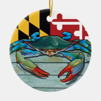 Ornement Rond En Céramique Crabe bleu le Maryland