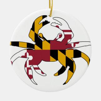 Ornement Rond En Céramique Crabe de drapeau du Maryland